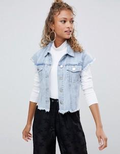 Короткая джинсовая куртка без рукавов Glamorous - Синий