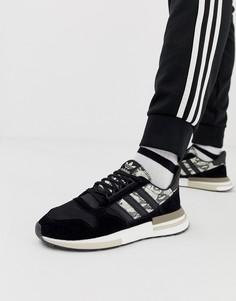 Черные кроссовки с отделкой под змеиную кожу adidas Originals ZX500 RM - Черный