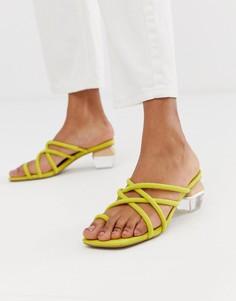 Босоножки на блочном каблуке с ремешками ASOS DESIGN Hawaii - Желтый