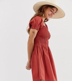 Хлопковое платье мини с квадратным вырезом и присборенным топом ASOS DESIGN Petite - Красный