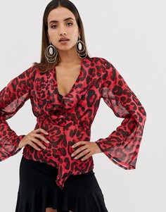 Блузка с запахом и леопардовым принтом Forever Unique - Красный