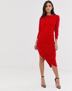 Платье миди с асимметричным подолом Forever Unique - Красный