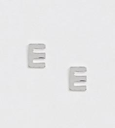 Серебряные серьги-гвоздики с инициалом E Kingsley Ryan - Серебряный