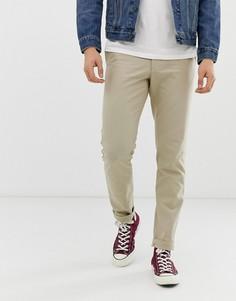 Светло-бежевые узкие брюки из хлопковой рогожки Farah Elm - Рыжий