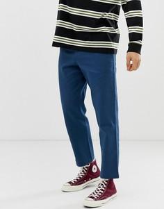 Синие укороченные брюки из рогожки Farah Hawtin - Синий