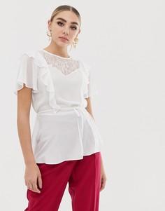 Прозрачная блузка с оборками Lipsy - Белый