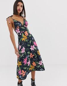 Платье миди на бретельках с цветочным принтом и завязками на плечах Neon Rose - Темно-синий