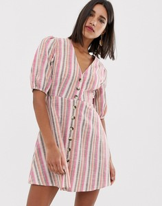 Чайное платье в разноцветную полоску с пуговицами Neon Rose - Мульти