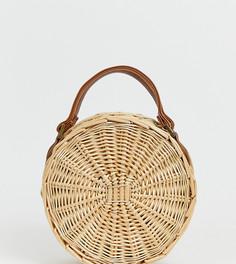 Круглая соломенная сумка со съемным ремешком через плечо South Beach - Бежевый