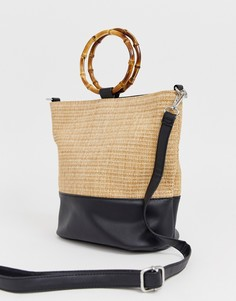 Светло-бежевая сумка-мешок с ручками под бамбук New Look - Светло-бежевый