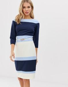 Платье колор блок с ремнем Paper Dolls - Мульти
