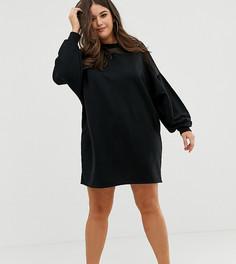 da9b3f2a5fd Трикотажное платье с сетчатыми вставками ASOS DESIGN Curve - Черный с  манжетами