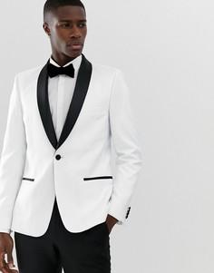 Белый приталенный пиджак-смокинг с черными лацканами ASOS DESIGN - Белый