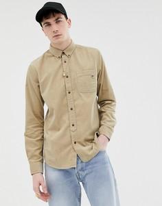 Приталенная рубашка из мелкого вельвета Pretty Green - Светло-бежевый