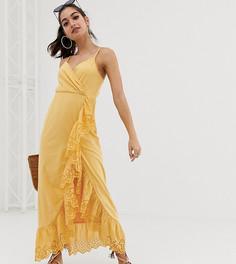 Платье макси с запахом и отделкой вышивкой ришелье ASOS DESIGN Petite - Желтый