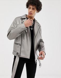 Байкерская куртка металлик ASOS DESIGN - Серебряный