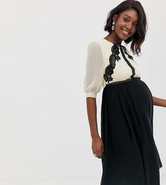 Короткое приталенное платье с контрастным кружевом Little Mistress - Мульти