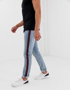 Светлые узкие джинсы с полосой сбоку Armani Exchange J13 - Синий