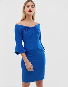 Облегающее платье миди с вырезом сердечком и узелком Paper Dolls - Синий