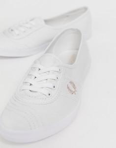 Розовые саржевые кроссовки с логотипом Fred Perry Aubrey - Белый