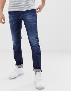Темно-выбеленные узкие стретчевые джинсы Diesel Thommer 0878N - Синий