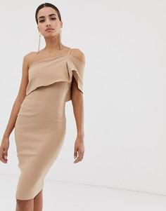 Облегающее платье на одно плечо Vesper - Коричневый