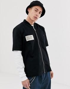 Черная рубашка на молнии с короткими рукавами Diesel S-Drima - Черный