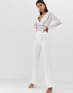 Белые широкие брюки с пуговицами Club L - Белый