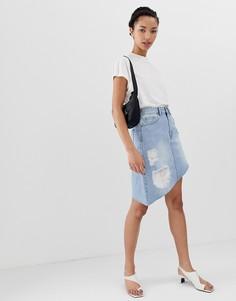 Асимметричная джинсовая юбка с необработанным подолом Dr Denim - Синий