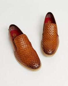Светло-коричневые плетеные кожаные лоферы Base London - Рыжий