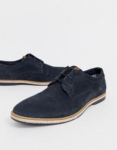 Темно-синие замшевые туфли со шнуровкой Base London - Темно-синий