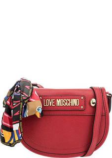 Красная сумка через плечо с откидным клапаном Love Moschino
