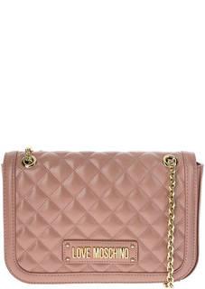 Розовая стеганая сумка с длинными ручками Love Moschino