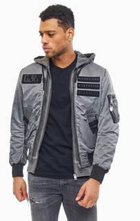Двухслойная куртка бомбер серого цвета Diesel