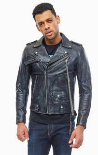 Кожаная куртка косуха с металлической отделкой Diesel