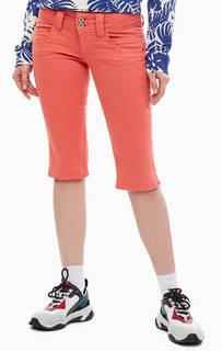 Хлопковые бриджи кораллового цвета с карманами Pepe Jeans
