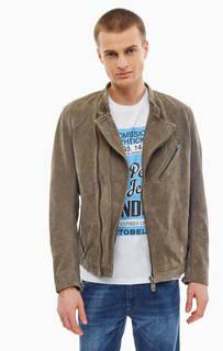 Замшевая куртка косуха серого цвета Pepe Jeans