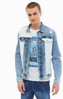 Двухцветная джинсовая куртка с декоративными потертостями Pepe Jeans