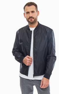Легкая черная куртка-бомбер с яркой вставкой на спине Hugo