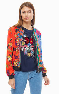 Легкая разноцветная куртка-бомбер на молнии Desigual