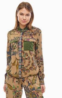 Легкая куртка с цветочным принтом и яркими нашивками Desigual