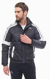 Демисезонная черная куртка-бомбер на молнии и кнопках Kappa