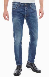 Синие зауженные джинсы с декоративными заломами Donny Replay