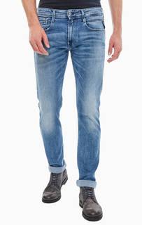 Синие зауженные джинсы с декоративными заломами Anbass Replay