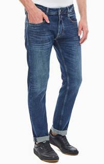 Прямые синие джинсы с декоративными заломами Rob Replay