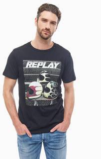 Хлопковая футболка с круглым вырезом Replay