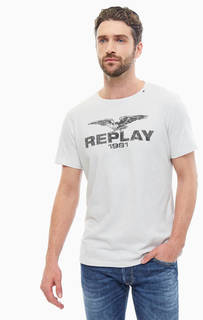Хлопковая футболка серого цвета с принтом Replay