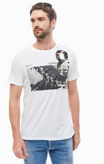 Белая хлопковая футболка с короткими рукавами Replay