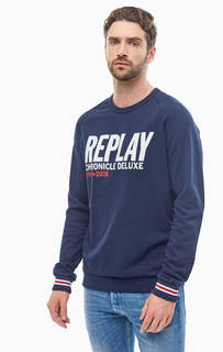 Хлопковый синий свитшот с принтом Replay