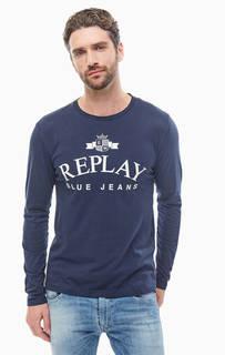 Синяя хлопковая футболка с длинными рукавами Replay